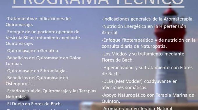 JUNIO 2018. PROGRAMA TECNICO «JORNADAS MEDITERRANEAS DE TERAPIAS NATURALES Y MANUALES».