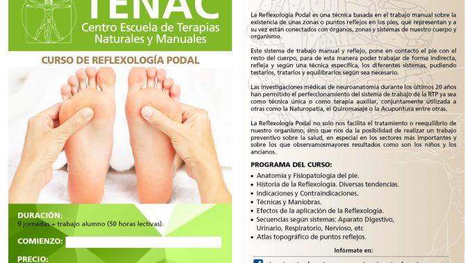 PROXIMA FORMACION EN ESCUELA TENAC. CURSO PROFESIONAL DE REFLEXOLOGIA PODAL.